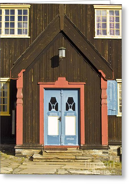 Wooden Antique Building Greeting Cards - Norwegian wooden facade Greeting Card by Heiko Koehrer-Wagner