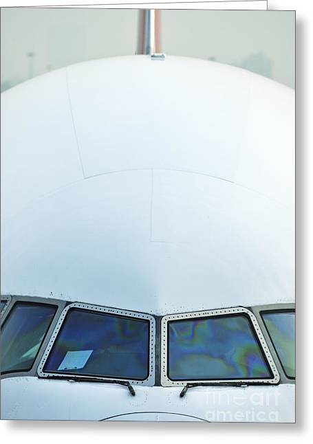 Aerospace Industry Greeting Cards - Nose of a commercial airplane Greeting Card by Sami Sarkis