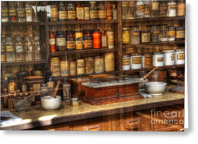 Nostalgia Pharmacy 2 Greeting Card by Bob Christopher