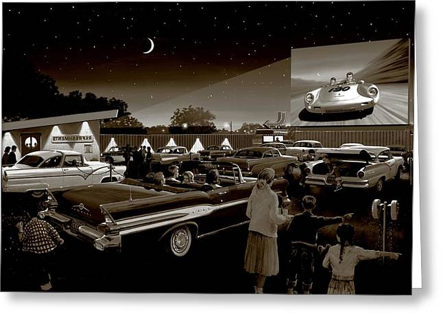 Show Time Greeting Cards - Nostalgic Drive In Theater Greeting Card by Michael Swanson