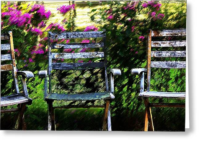Empty Chairs Mixed Media Greeting Cards - Not Forgotten Greeting Card by Terence Morrissey