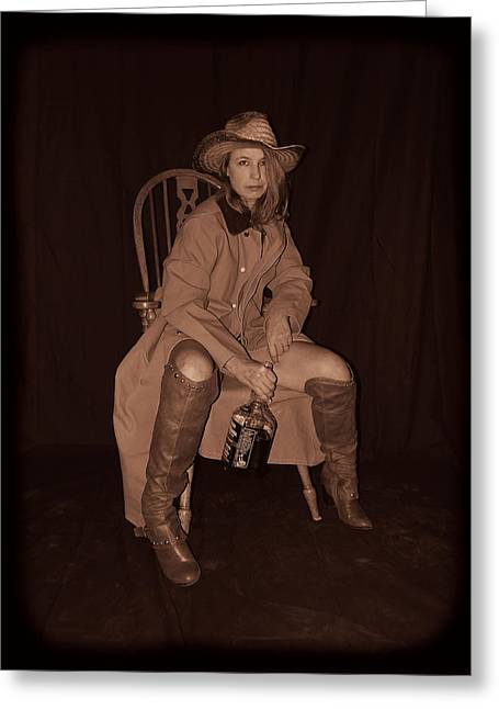 Pretty Cowgirl Greeting Cards - Not In A Sharing Mood Greeting Card by Cindy Nunn