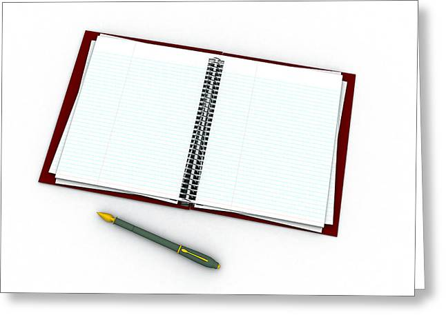 Blank Pages Greeting Cards - Notebook And Pen Greeting Card by Christian Darkin