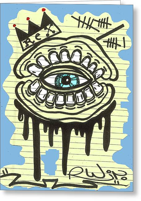 Raw Contemporary Graffiti Greeting Cards - Notebook DrooL Greeting Card by Robert Wolverton Jr