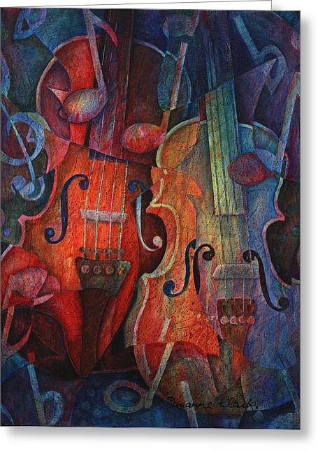 String Art Greeting Cards - Noteworthy - A Viola Duo Greeting Card by Susanne Clark