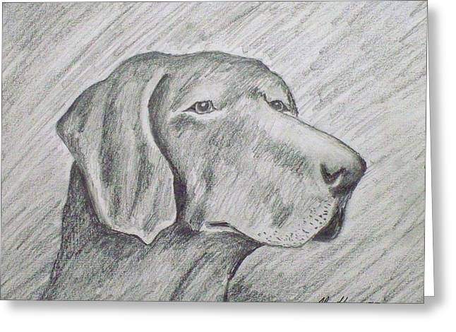 Working Dog Drawings Greeting Cards - Nothin but a Hound Dog Greeting Card by Alan Hogan