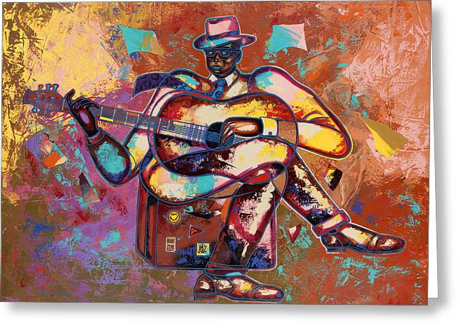 African-american Paintings Greeting Cards - Nothin But Da Blues Greeting Card by Larry Poncho Brown