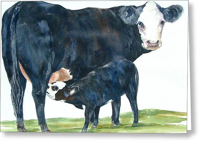 Maine Farms Paintings Greeting Cards - Nothing But Mothers Milk for My Baby Greeting Card by Paula Robertson