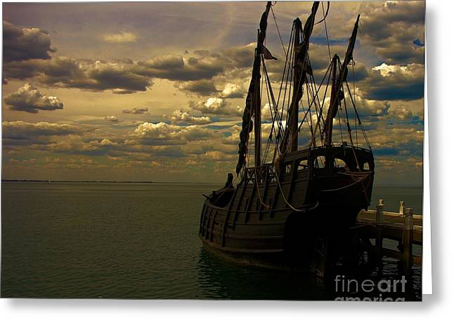 Wooden Ship Greeting Cards - Notorious the Pirate Ship Greeting Card by Blair Stuart
