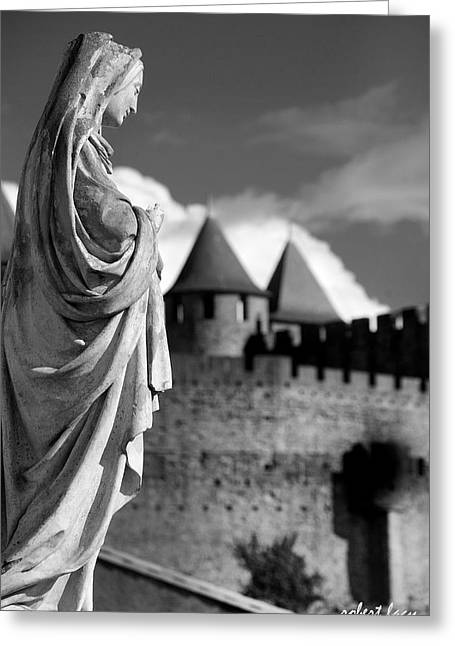 Languedoc Greeting Cards - Notre Dame Carcassonne Greeting Card by Robert Lacy