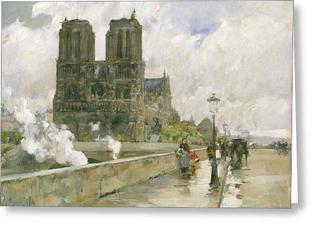 Carriage Road Greeting Cards - Notre Dame Cathedral - Paris Greeting Card by Childe Hassam