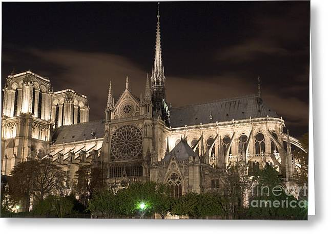 Paris Night Scenes With Lights Greeting Cards - Notre Dame de Paris by night IV Greeting Card by Fabrizio Ruggeri