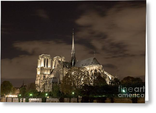 Paris Night Scenes With Lights Greeting Cards - Notre Dame de Paris by night V Greeting Card by Fabrizio Ruggeri