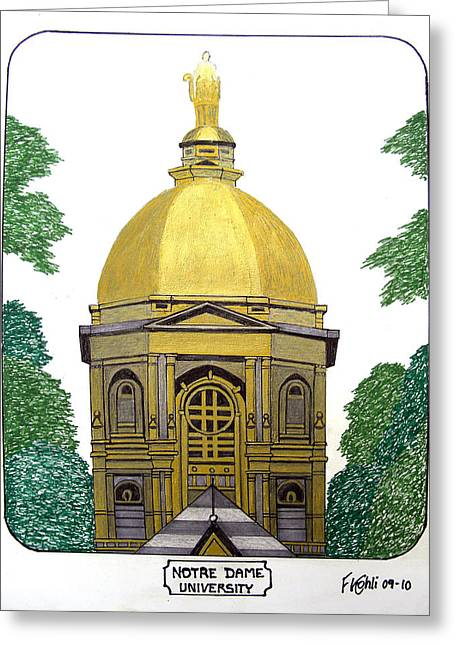 College Campus Buildings Drawings Greeting Cards - Notre Dame Greeting Card by Frederic Kohli