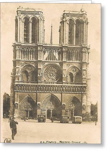 Historical Buildings Digital Art Greeting Cards - Notre Dame  Greeting Card by Nomad Art And  Design