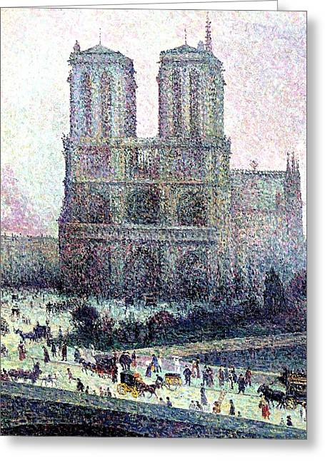 Pointillist Greeting Cards - Notre-Dame Paris Greeting Card by Maximilien Luce