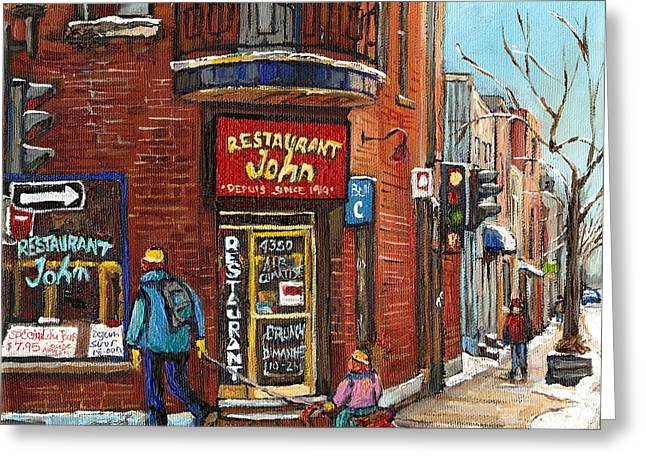 Spaghetti Paintings Greeting Cards - Notre Dame Street Montreal Saint Henri Greeting Card by Carole Spandau