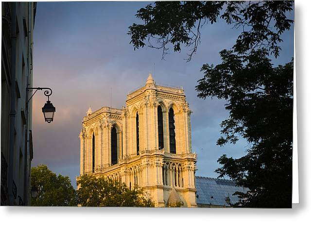 Night Cafe Greeting Cards - Notre Dame View Greeting Card by Laria Saunders