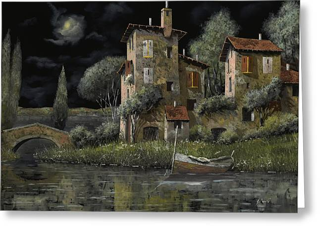 Nightscapes Greeting Cards - Notte Nera Greeting Card by Guido Borelli