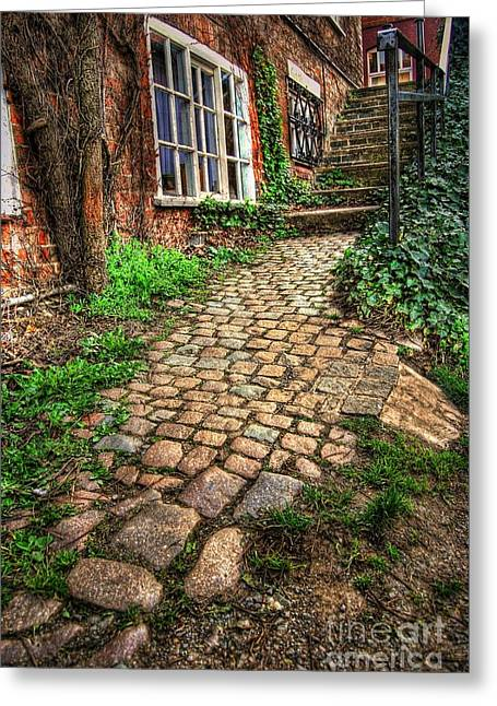 Country Cottage Greeting Cards - Nottingham Bridge Footpath Greeting Card by Yhun Suarez