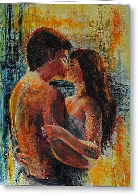 Couples Paintings Greeting Cards - Nous Greeting Card by Francoise Dugourd-Caput