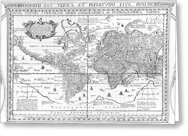Border Drawings Greeting Cards - Nova Totius Terrarum Orbis Geographica Ac Hydrographica Tabula Greeting Card by Dutch School