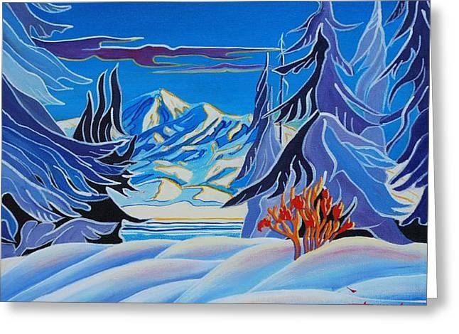 Canadian Winter Art Greeting Cards - November Snow Greeting Card by Santo De Vita