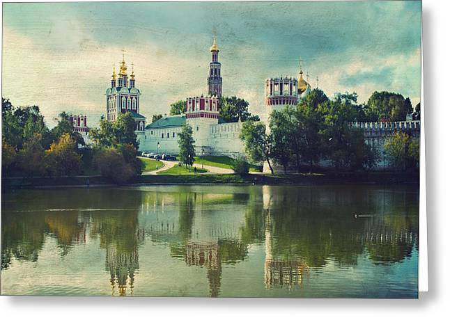Sacred Greeting Cards - NOVODEVICHY CONVENT. Moscow Russia Greeting Card by Juli Scalzi