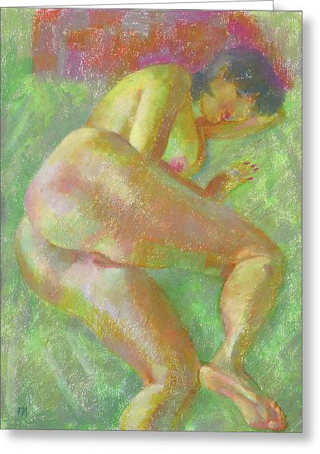 Oil Pastel Greeting Cards - Nu 103 Greeting Card by Leonid Petrushin