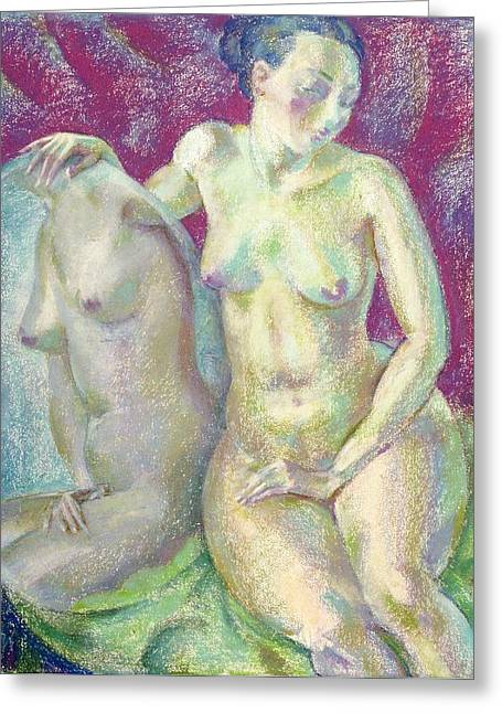 Pastel Greeting Cards - Nu 2 Greeting Card by Leonid Petrushin