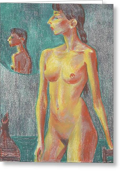 Girl Greeting Cards - Nu 7 Greeting Card by Leonid Petrushin