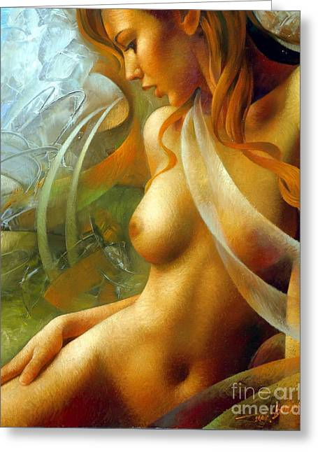Nude Female Art Greeting Cards - Nu Greeting Card by Arthur Braginsky