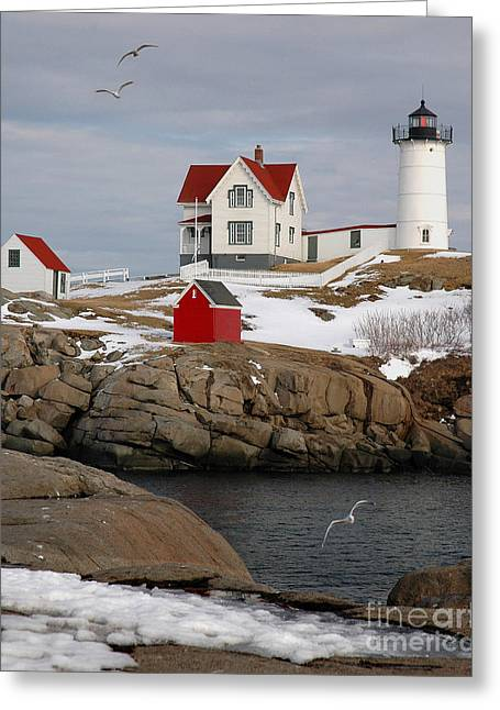 New England Ocean Greeting Cards - Nubble Light - Cape Neddick lighthouse seascape landscape rocky coast Maine Greeting Card by Jon Holiday