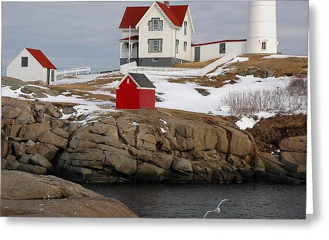 Nubble Light - Cape Neddick lighthouse seascape landscape rocky coast Maine Greeting Card by Jon Holiday