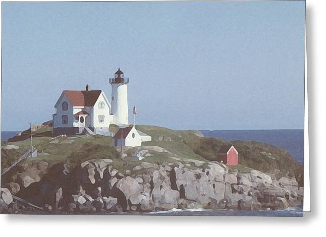 Cape Neddick Lighthouse Greeting Cards - Nubble Light 1 Greeting Card by Lin Grosvenor