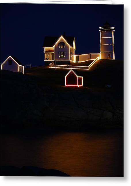 Cape Neddick Lighthouse Greeting Cards - Nubble Light Aglow Greeting Card by Rose Pasquarelli