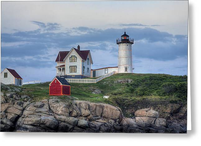 Maine Shore Greeting Cards - Nubble Light at Dusk Greeting Card by Eric Gendron