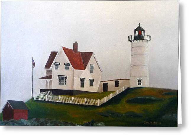 Nubble Lighthouse Paintings Greeting Cards - Nubble Light IV Greeting Card by Dillard Adams