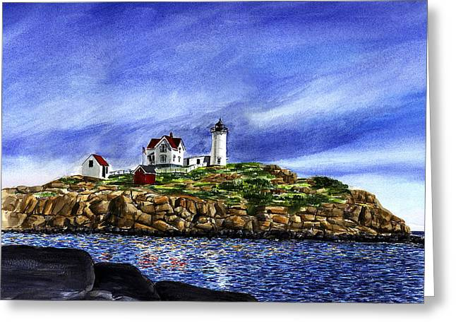 Nubble Lighthouse Paintings Greeting Cards - Nubble Light Summer Greeting Card by Paul Gardner