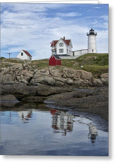 Cape Neddick Greeting Cards - Nubble Light with Reflection Greeting Card by David DesRochers