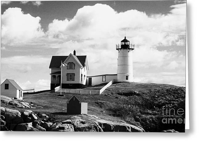 Cape Neddick Lighthouse Digital Art Greeting Cards - Nubble Lighthouse - Cape Neddick Maine Greeting Card by Christy Bruna