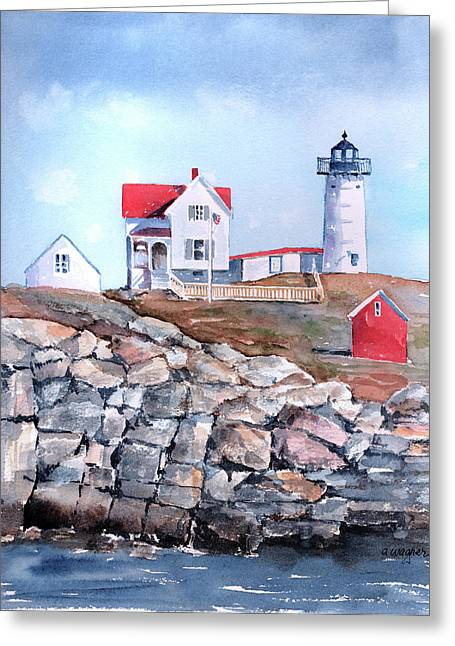 Nubble Lighthouse Paintings Greeting Cards - Nubble Lighthouse - Maine Greeting Card by Arline Wagner