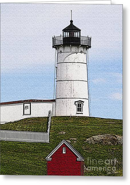 Cape Neddick Lighthouse Greeting Cards - Nubble Lighthouse- Canvas Greeting Card by Luke Moore