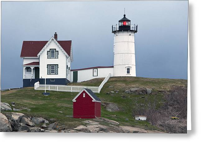 Cape Neddick Greeting Cards - Nubble Lighthouse Cape Neddick Maine Greeting Card by Glenn Gordon