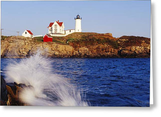 Atlantic Beaches Greeting Cards - Nubble Lighthouse in Daylight Greeting Card by Jeremy Woodhouse