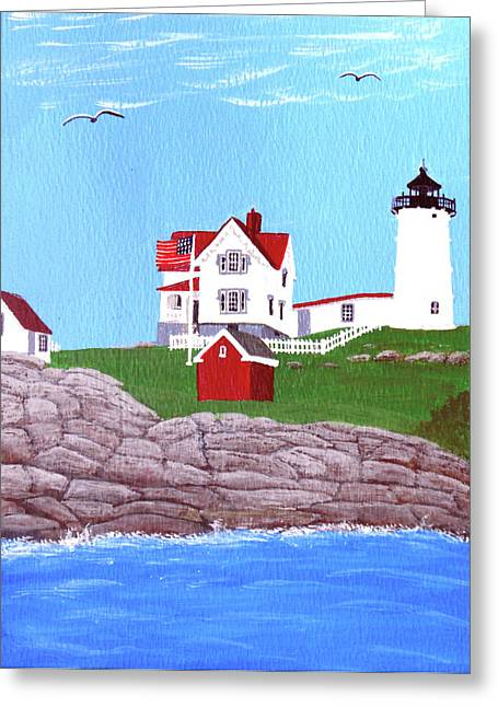 Cape Neddick Greeting Cards - Nubble Lighthouse Painting Greeting Card by Frederic Kohli