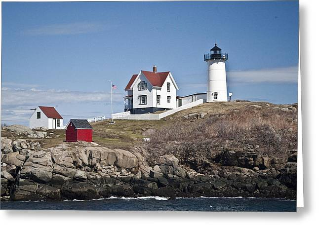 Nubble Lighthouse Greeting Card by Thomas  Jarvais