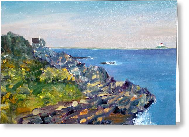 Nubble Lighthouse Paintings Greeting Cards - Nubble Point Greeting Card by Dillard Adams