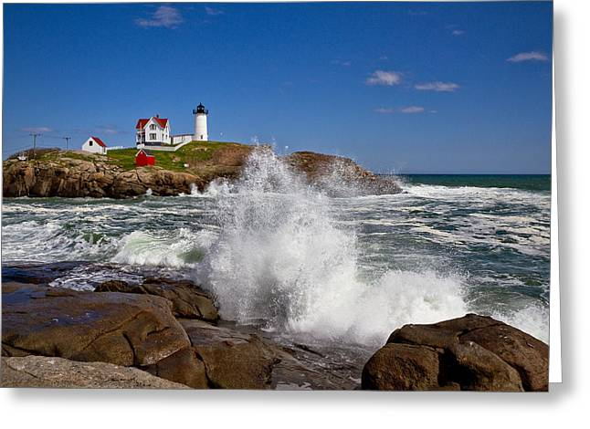 Best Sellers -  - York Beach Greeting Cards - Nubble Lighthouse Greeting Card by Robert Clifford