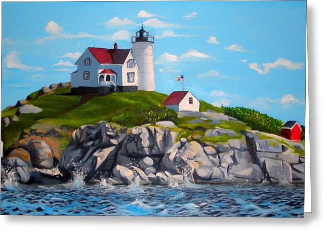Nubble Lighthouse Paintings Greeting Cards - Nubble Greeting Card by Welder Ramiro Vasquez